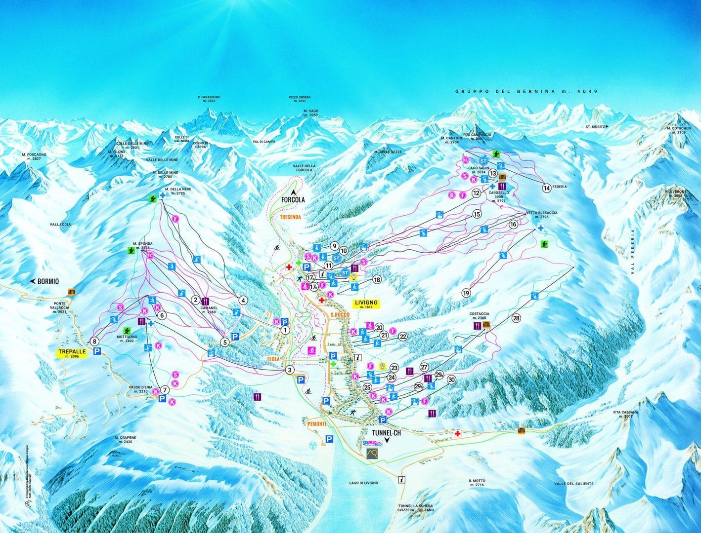 mappa della skiarea di livigno
