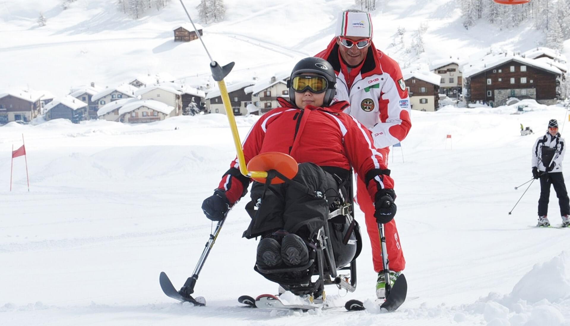 lezione di sci per disabili a livigno