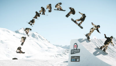 evoluzioni sullo snowboard presso lo snowpark Mottolino