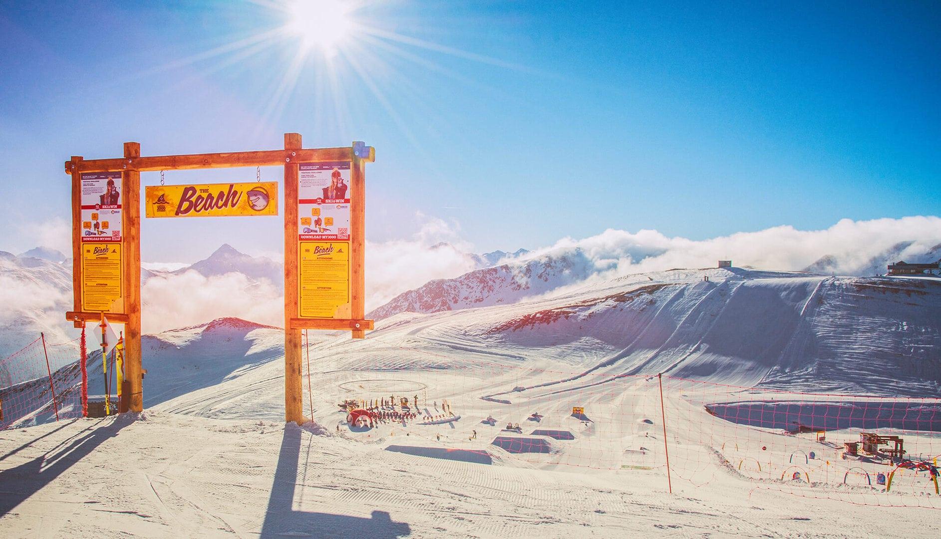 partenza in quota dello snowpark the beach a livigno