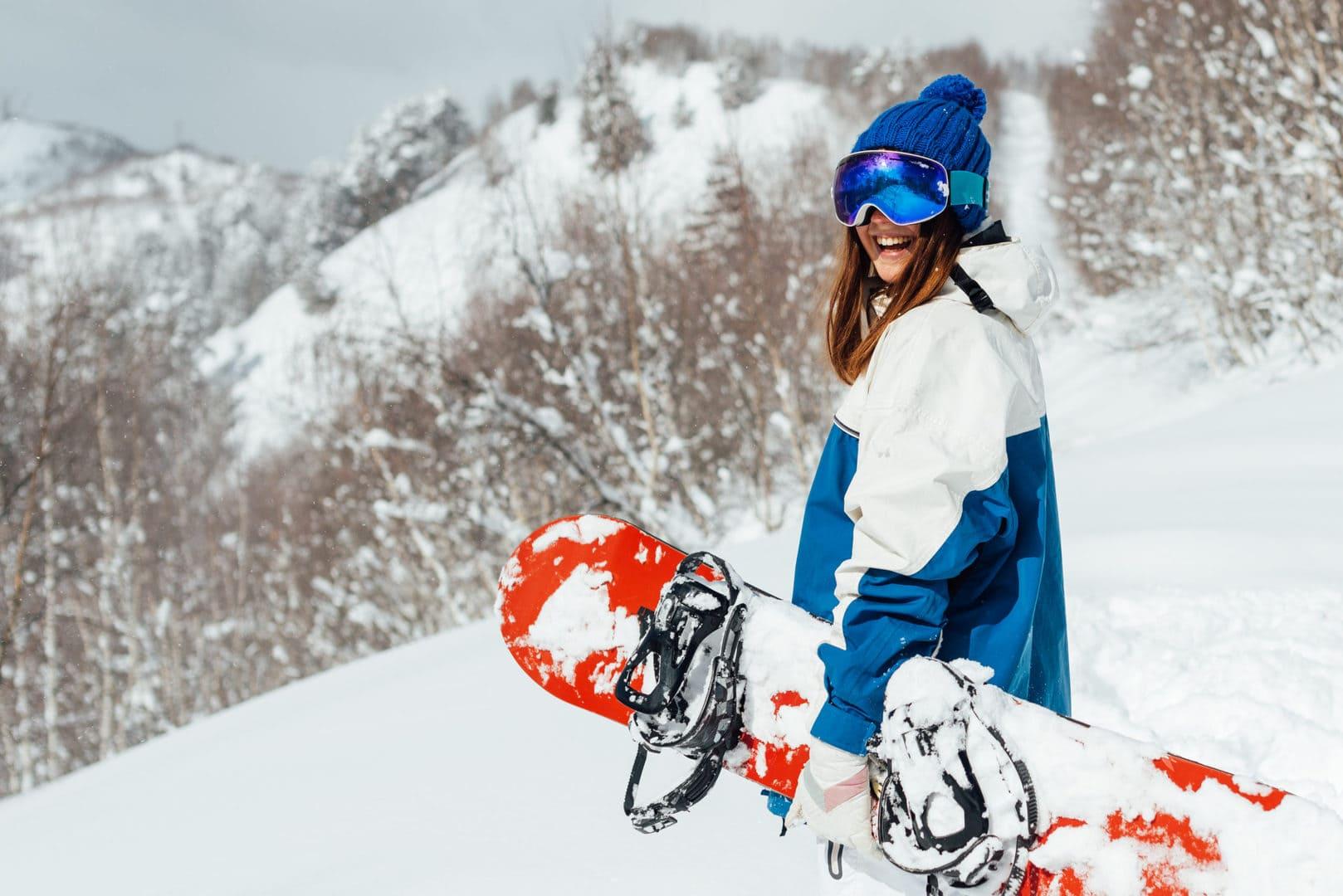 Snowbarder pronta per una discesa a Livigno