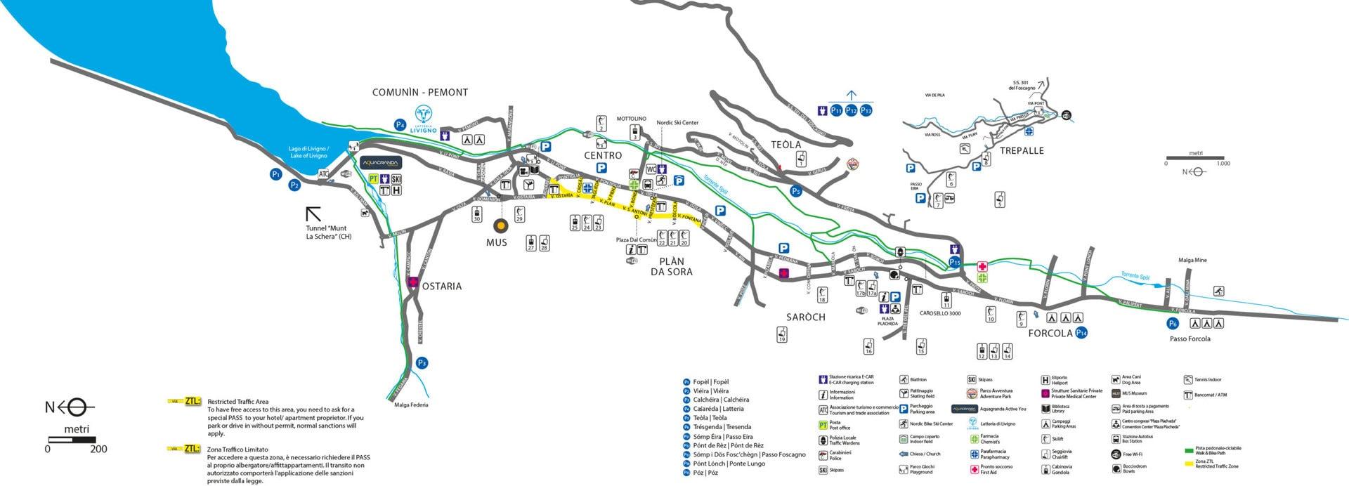mappa della città di livigno sulle Alpi