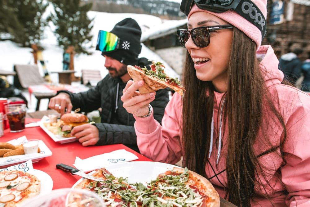 pranzo in alta quota per sciatori