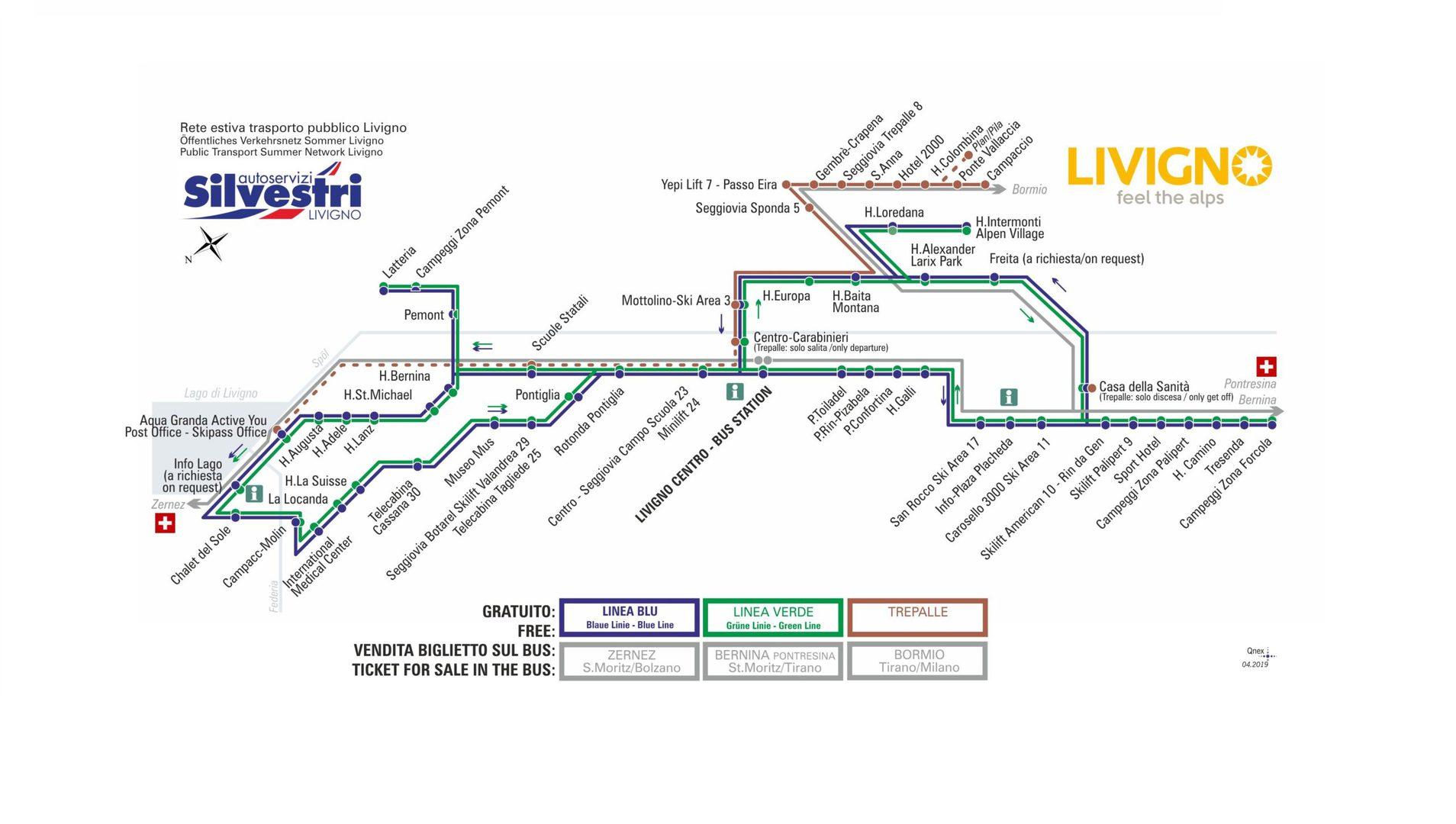 rete trasporto pubblico Livigno - stagione estiva
