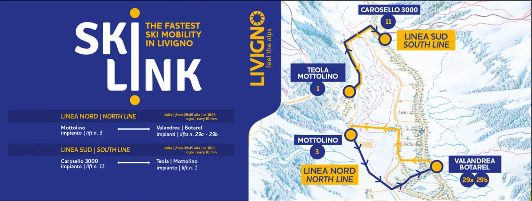 Percorso e orari Skilink, navetta gratuita per sciatori a Livigno
